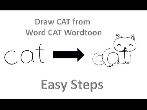 How To Draw cat From Word Cat WordToons