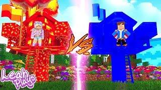 Minecraft Little Leah Plays - LAVA TREE HOUSE VS WATER TREE HOUSE!!!