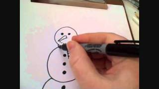 How To Draw Cartoon Snowman For Christmas