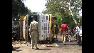 Truck and Bus Road Accident Bilaspur Chhattisgarh