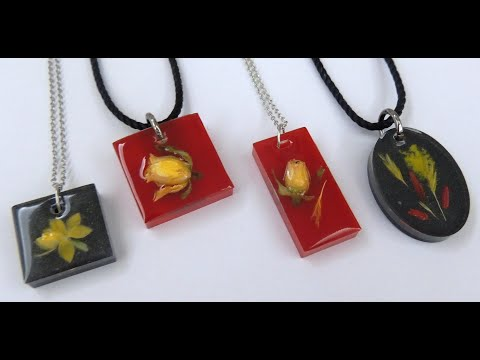 EPOKSİ REÇİNE ÇİÇEK KOLYE  - EPOXY RESIN FLOWER NECKLACE - DIY