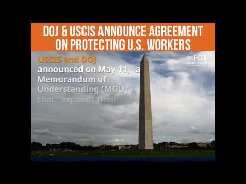 U.S. Alert -  DOJ & USCIS Announce Agreement on Protecting U.S. Workers - #FGI ALERTS