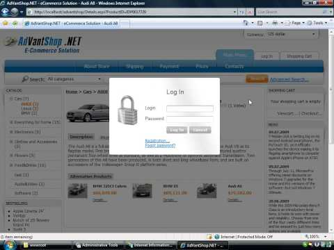 Setup asp.net shopping cart  AdVantShop.NET in IIS Travel Video
