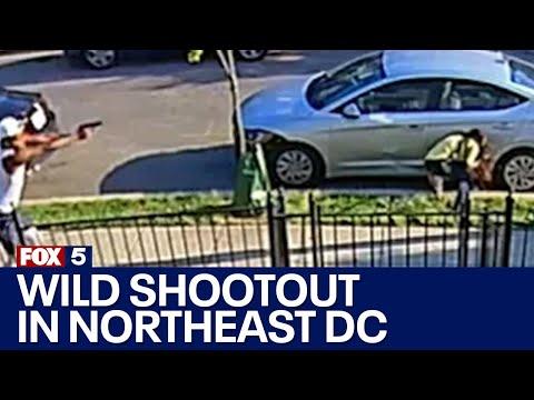 Download RAW VIDEO: Wild shootout in Northeast DC captured on home surveillance video | FOX 5 DC