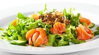 Праздничный салат из форели и огурцов