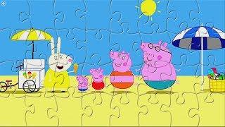 Свинка Пеппа и ее семья на пляже. Собираем Пазлы для детей