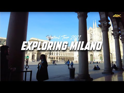 ITALY, MILANO: City walk tour throughout the center - Visiting Piazza dei Mercanti 2021 | 4K-UHD