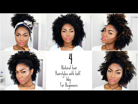 4 Natural Hair Hairstyles | Afro Half Wig for Beginners  | Outre Big Beautiful Hair Half Wigs