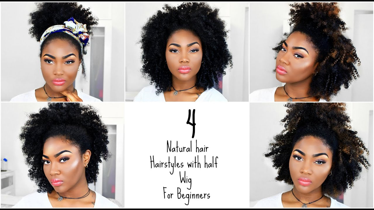 4 Natural Hair Hairstyles | Afro Half Wig for Beginners | Outre Big ...