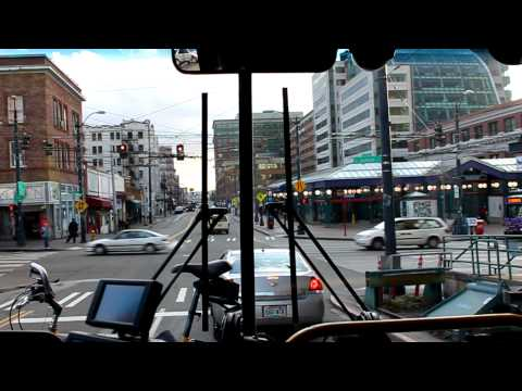 Riding Vancouver Trolleybus in Seattle's Pioneer Square on Battery Power