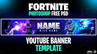 Fortnite Youtube Banner Photoshop Template | FREE PSD Download |
