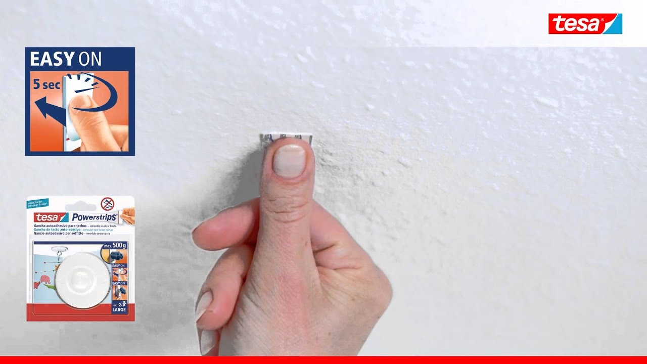 Tesa powerstrips gancho para techos ideal para fijar for Ganchos de pared adhesivos