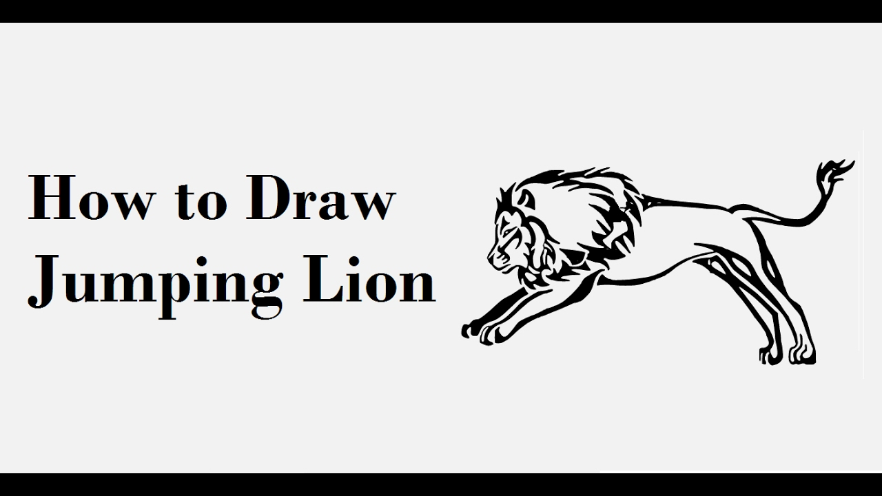 How To Draw Jumping Lion Drawing Step By Step