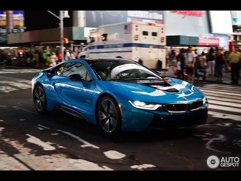2016 2017 Blue Grey BMW I8 In NYC Electric Car