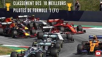 Classement des  10 Meilleurs  Pilotes de Formule 1 (F1)