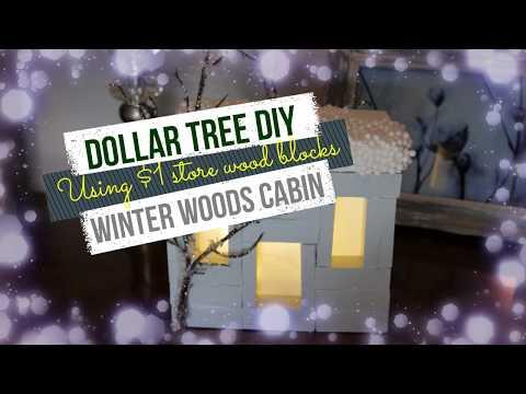 DOLLAR TREE DIY using $1 wood blocks!! Winter Woods Cabin!