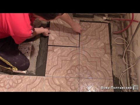 Укладка плитки на пол в кухне за 1День. Сериал-Театральная кухняЧасть1
