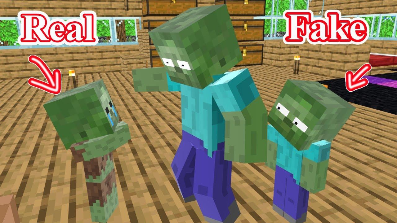 Monster School : FAKE BABY ZOMBIE - Minecraft Animation