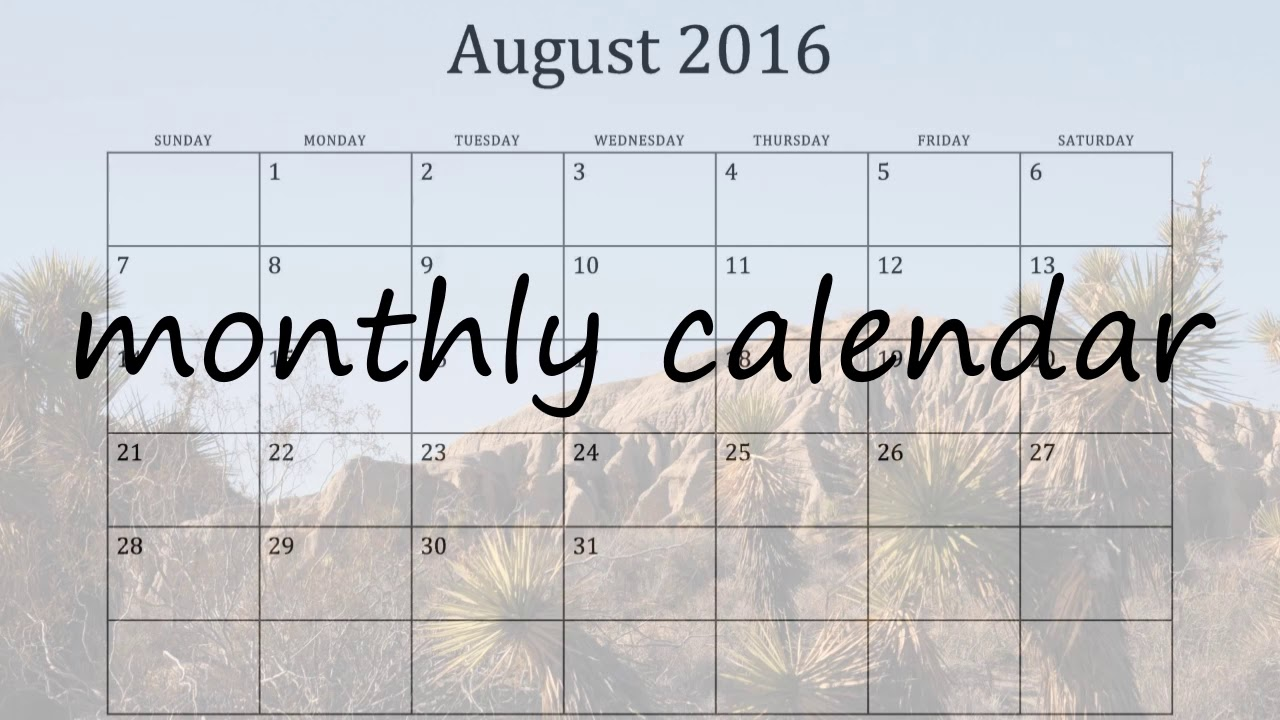 How To Say Monthly Calendar In English Youtube