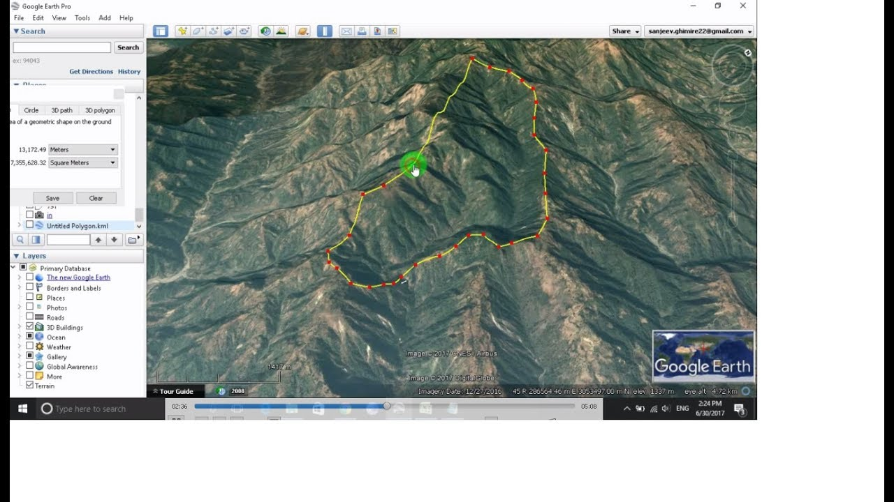 how to calculate area of land on google earth