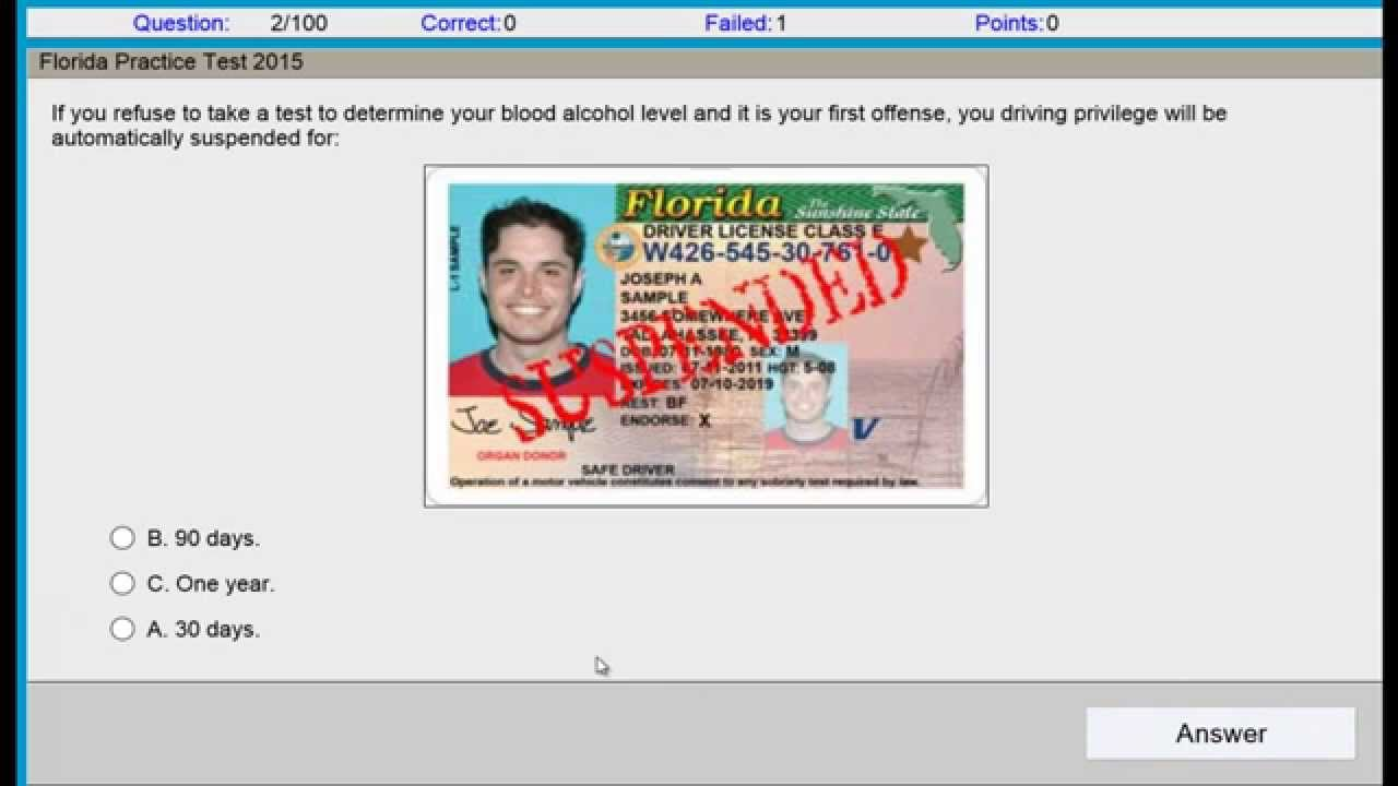 Permit Test Florida >> Questions And Answers Permit Test Florida