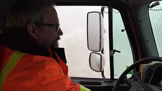ADOT Snowplow pushes the snow on the I-40 near Flagstaff