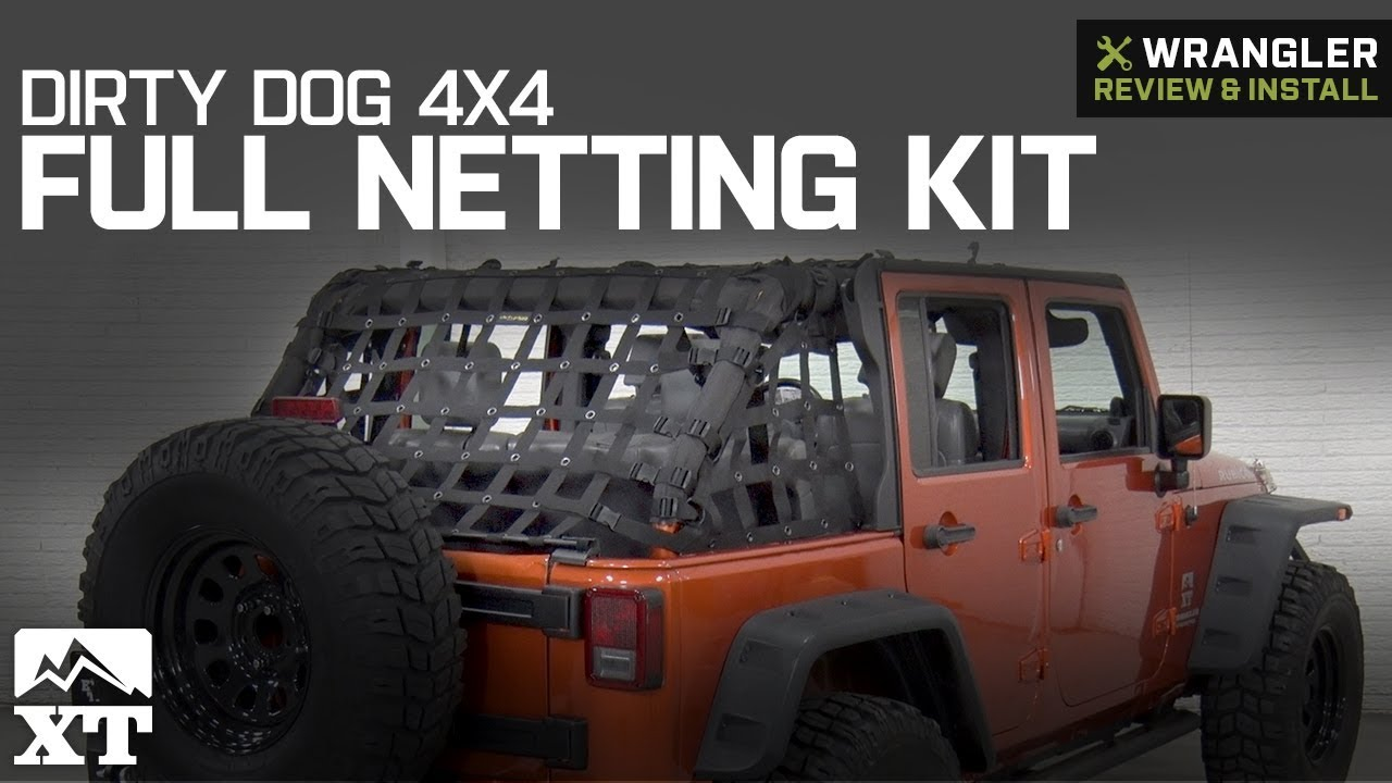 Jeep Wrangler Jk >> Jeep Wrangler Dirty Dog 4x4 Full Netting Kit (2007-2018 JK 4 Door) Review & Install - YouTube