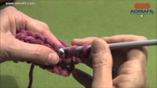 Adriafil crochet tutorial: maglia alta/treble crochet/bride/Stäbchen