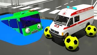 Learn colors with Tayo Bus stuck in Puddle   Fire Truck with Soccer Ball tire for Kids Children