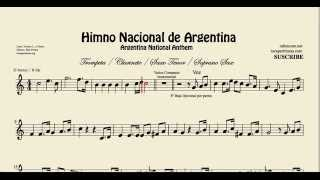 Argentine National Anthem Sheet Music for Clarinet Trumpet Tenor Sax and Soprano Sax