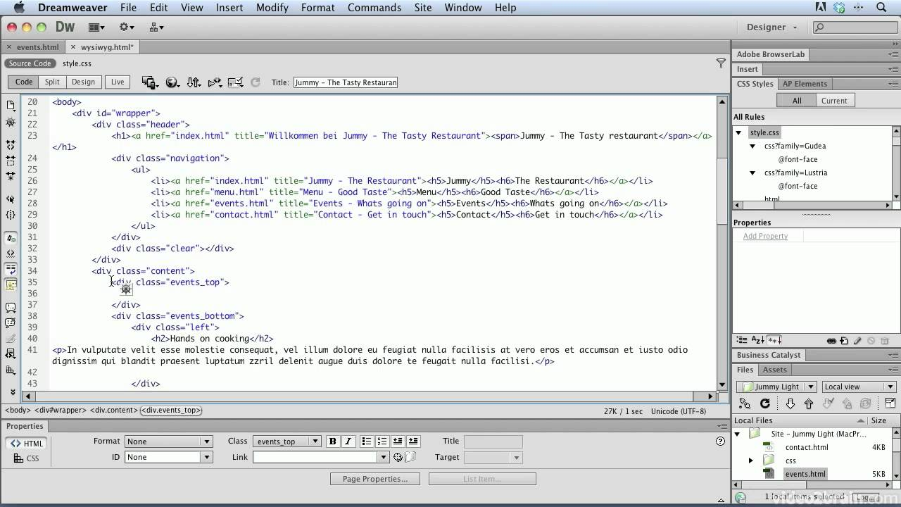 Adobe dreamweaver html