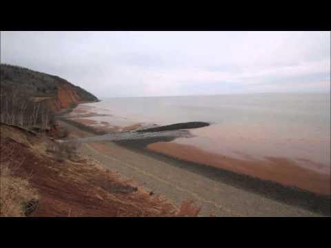 Bay Of Fundy Ocean High To Low Tide. Nova Scotia, Canada