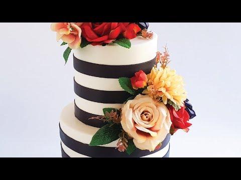 Striped Retro Wedding Cake Tutorial- Rosie's Dessert Spot