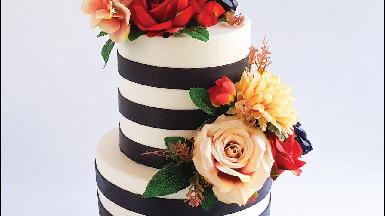 Striped Retro Wedding Cake Tutorial Rosies Dessert Spot