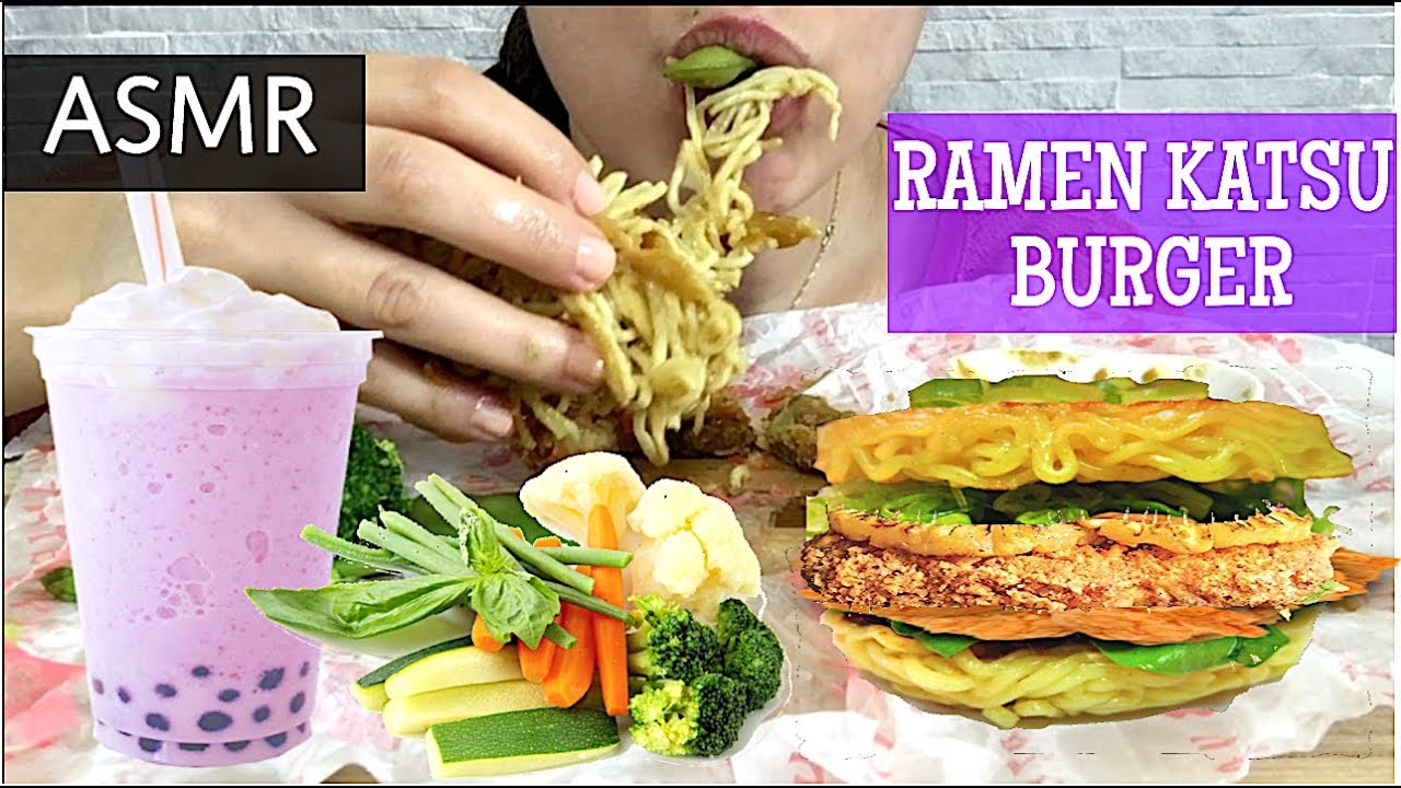Asmr Chicken Katsu Ramen Burger Eating Show Mukbang Sticky Eating Sounds Asmr Eats