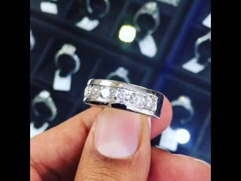 WBA-20 – 2.10 Carat Natural Diamond Mens Wedding Band Ring 14k White Gold Men Ring