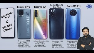 Poco X3 VS Redmi Note 10 Pro MAX VS Realme X7 VS Realme 8 Pro Charging & Battery Drain Test