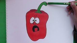 Como dibujar y colorear a Pimiento Sorprendido - How to draw and color a pepper Surprised