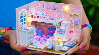 DIY Miniature Doll House Bunk Bed Bedroom