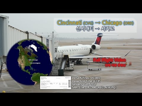 Cincinnati to Chicago (신시내티-시카고,CVG-ORD), Delta Airlines 델타항공 (DL3481),Full Flight Video 전체비행영상