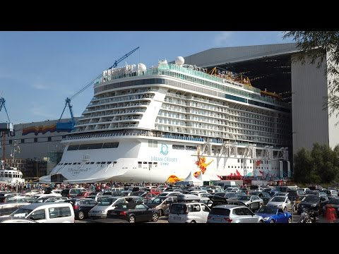 Thumbnail: Big ship launch: Float out of cruise ship Genting Dream 雲頂夢號 at Meyer Werft shipyard