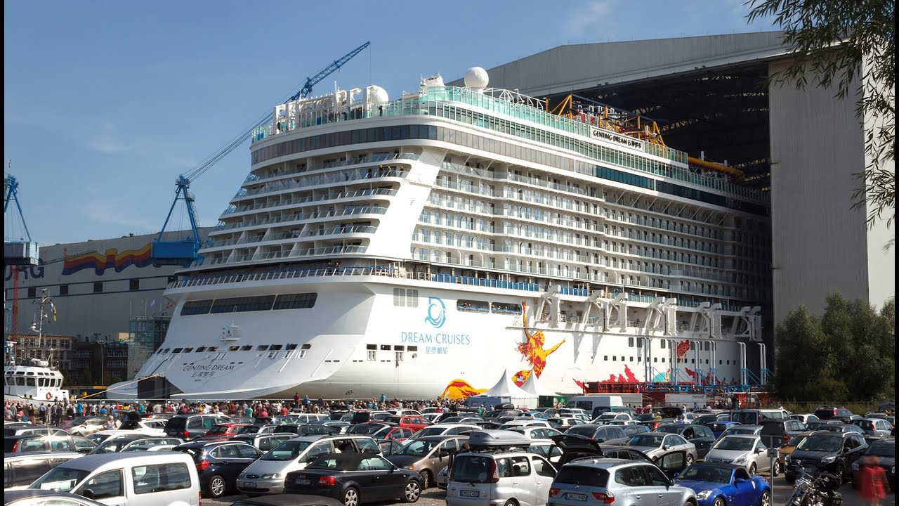 Big Ship Launch Float Out Of Cruise Ship Genting Dream 雲頂夢號 - Huge cruise ship