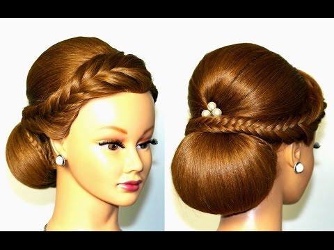 Прическа для средних волос с плетением рыбий хвост и  валиком.