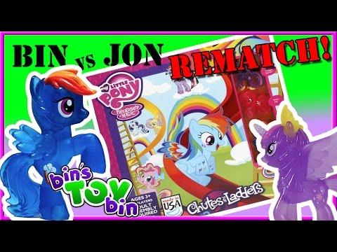 Bin Vs. Jon REMATCH - My Little Pony Chutes & Ladders! | Bin's Toy Bin