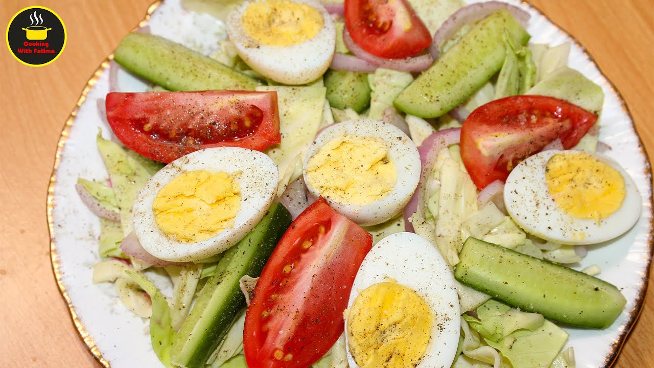 Healthy Diet Salad Cucumber Egg Salad Weight Loss Salad Recipe By Cooking With Fatima Youtube