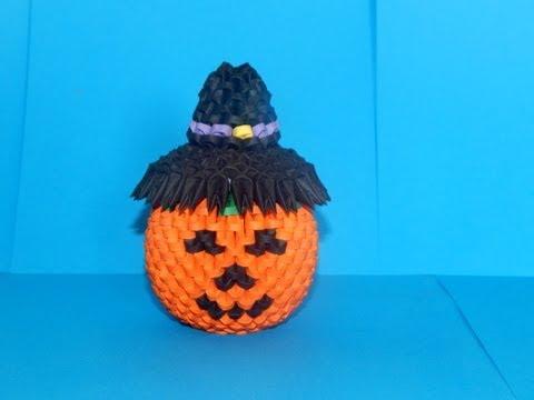 3d Origami Halloween Pumpkin Tutorial Diy Paper Halloween Pumpkin