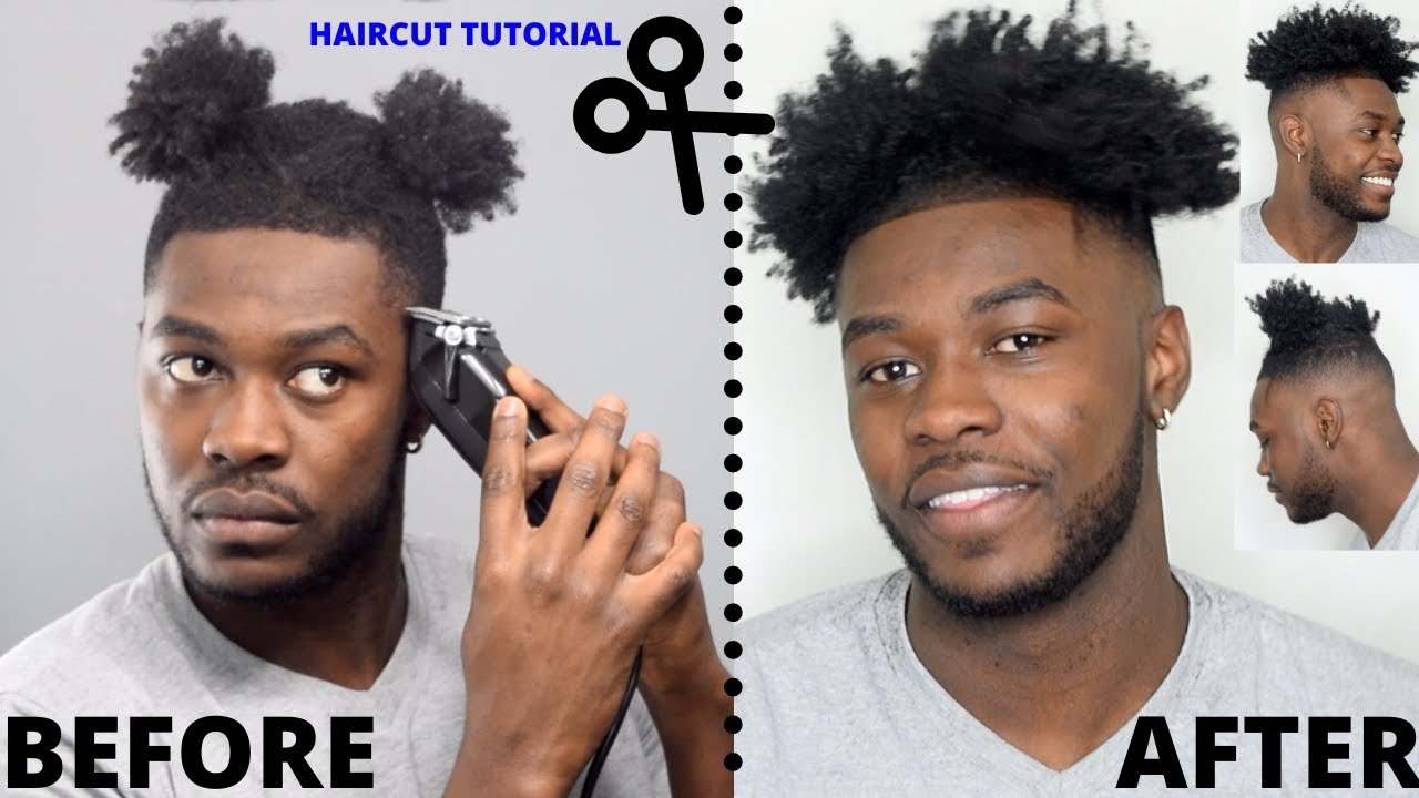 HOW TO CUT YOUR OWN HAIR! | Black Men's Curly High Top Fade Haircut  Tutorial - YouTube