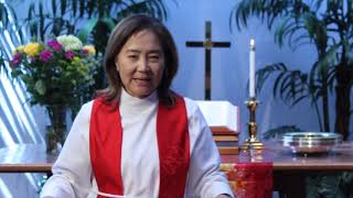 Rev. Elaine Cho delivers  the message on June 14, 2020 at SCUMC.
