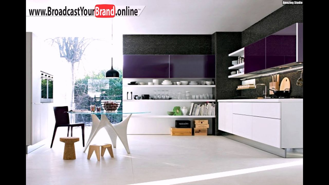 wohnideen k che modern lila oberschr nke wei e offene regale youtube. Black Bedroom Furniture Sets. Home Design Ideas