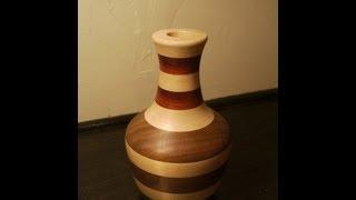 Turning A Laminated Wooden Vase On The Lathe